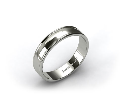 18k White Gold 6mm Grooved Edge Comfort Fit Wedding Band